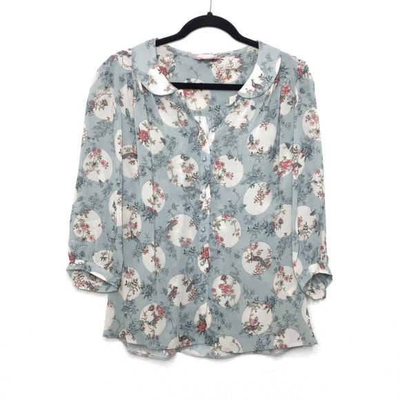 Phase Eight Tops - Phase Eight Flower/Bird Print Button Down Blouse S